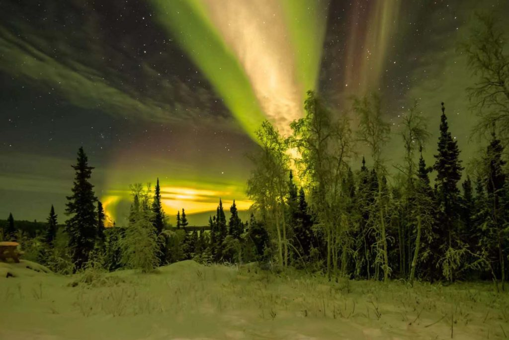 Northern Lights captured on a cloudy night