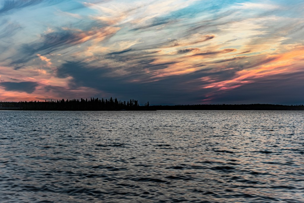 Over looking Long Lake during the summer months, nearing the end of the midnight sun season.
